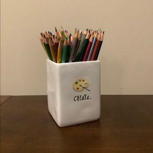2 New Rae Dunn CREATE Palette Pencil Cups ✏️ 🎨